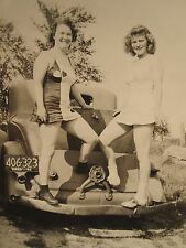 VINTAGE WW2 ERA 1942 MA LICENSE PLATE 406 323 PLYMOUTH PINUP GIRLS BUMPER PHOTO
