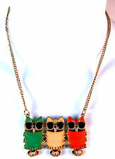 ELEGANT GOLD OWL NECKLACE COLOURFUL GREEN PINK BRAND NEW UNIQUE RETRO (CL5)