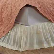 Quinn Creme King Bed Skirt Dust Ruffle Gossamer Lace Cottage Country Chic