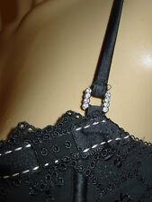 Pleasure State black eyelet bustier style bra w/ribbon trim bow front-L