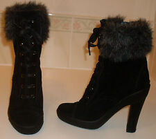 JIGSAW Black Suede Fur Trim Extra High Heel Ankle Boots KEW Size UK 3 EU 36 US 5
