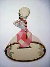 Vintage Art Deco Bridge Place Card w/ Woman Holding On To a Light Bulb  *