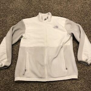 the north face girls XL gray & white full zip fleece jacket a31