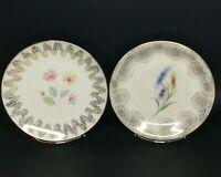 Winterling Bavaria Luncheon Dessert Plates 2 Mid Century Floral Gold Porcelain