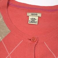 Izod Women's Cardigan Sweater Peach Tan Purple Argyle Cotton Crew Neck Sz M
