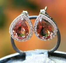 Color Change Diaspore Stud Earrings Sterling Silver 925 with Cubic Zirconias