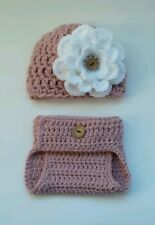 Newborn Baby Girl Flower Hat and Diaper Cover Crochet infant Photo Prop Outfits
