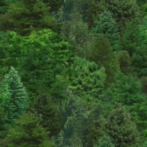Nature Fabric - Packed Green Realistic Trees - Elizabeth's Studio YARD