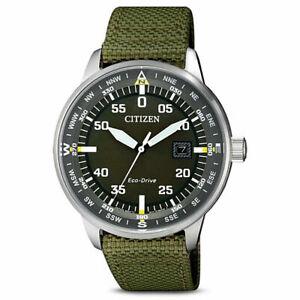Citizen Men's Solar Green Nylon Watch - BM7390-22X NEW