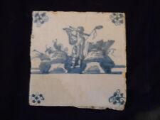 Antique Delft Dutch Tile of Shepherd Blowing Horn 1780-1820