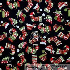 BonEful Fabric FQ Cotton Quilt VTG Xmas Stocking Elf Santa Claus Unisex Hat Mask