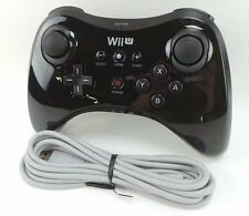 Official Nintendo Wii U Pro Black Wireless Controller & OEM Charge Cord #wiuCo