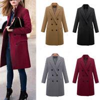 Ladies Double Breasted Lapel Wool Coat Jacket Winter Long Trench Outwear JC№r
