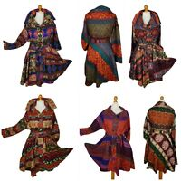 Quirky Boho Fit and Flare Festival Wool Blend Wrap Shawl Coat Jacket 10 12 14 16