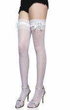 Women Bridal White Lace Top Stockings Thigh High - One Size