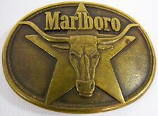 Vintage Marlboro Bull and Star Solid Brass Belt Buckle 1987 Phillip Morris