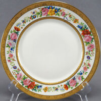 Set of 4 Limoges Ahrenfeldt E Bourgeois Hand Painted Mireille Floral Gold Plates