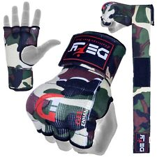 Gel Padded Inner Gloves with Hand Wraps MMA Muay Thai Boxing Fight Green Camo
