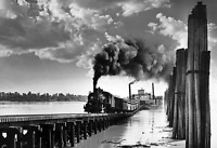"""1955 Train Exits Ferry, Ste. Genevieve, MO Old Photo 13"""" x 19""""  Reprint"""