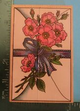 Ribbon And Wild Roses Flower Rubber Stamp by Embossing Arts