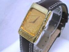 Unisex Armbanduhren im Luxus-Stil mit Armband aus echtem Leder und Massivgold