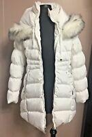 Laundry by Shelli Segal Faux-Fur-Trim Puffer Down Coat Jacket Size M White Color
