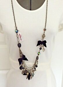 Mikey London Costume Jewellery Long Necklace Black Beads Mixed Charms Bows MN5