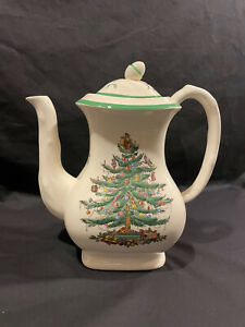 Spode Christmas Tree Green Trim Coffee Pot & Lid Vintage Holiday