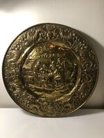 Vintage Brass Wall Decorative Art Drinks With Friends Large Plate 24x24