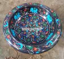 """12"""" Black Marble Fruit Bowl Real Gemstone Turquoise Marquetry Decor Gifts Art"""