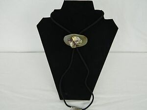 Yellow Gray Dyed Agate Stone With Silver Tips Men's Bolo Tie Necklace