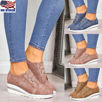 Womens Round Toe Slip On Trainers Loafers Ladies Wedge Heel Sneakers Comfy Shoes