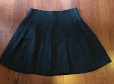 Women's Sharagano Black Flare Floral Trim Skirt Size 6 100% Linen