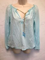 Tory Burch Turquoise Cotton Top Embroidered Logo Beaded Drawstring Ties Size 2