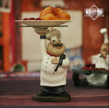 Creative Resin And Glass Chef Figurine Fruits and Candies Plate Decorative Cook