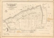 1863  LARGE ANTIQUE MAP - DISPATCH ATLAS- LONDON - THE GREAT FIRE IN SOUTHWARK