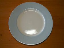 Royal Stafford England Earthenware Dinner Plate Off White w Light Blue Wide Rim