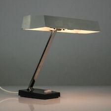VTG Schreib Tisch Lampe Metall Grau Chrom Arbeits Leuchte 60er 70er vintage MCM