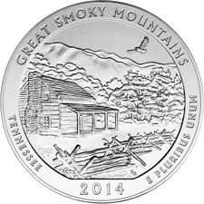 2014-P US America the Beautiful Five Ounce Silver Uncirculated Coin Smoky Mtn