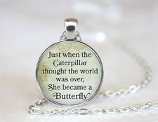 Vintage She became a Butterfly Dome Tibetan silver Glass Chain Pendant Necklace