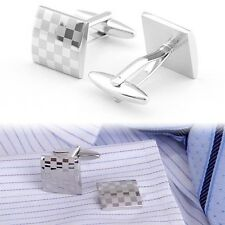 Men Classical Silver Square Steel Wedding Party Gift Cufflinks Laser Cuff Links