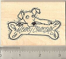 Merry Christmas dog Rubber Stamp Wood Mounted J7607