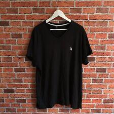 US Polo Assn T Shirt, V Neck, Size XL, Black With White Logo, Mens