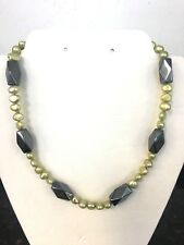 "Hematite Gemstone & green Freshwater pearls necklace 18"" 925 Sterling Silver new"