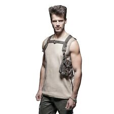 Mens Brown Leather Steampunk Vest Harness Costume Accessory Wasteland Mad Max