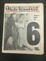 Mike Tyson Rape Conviction - Boxing - 1992 New York Post Newspaper