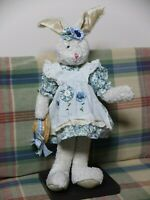 """ADORABLE COUNTRY """"BLUEBERRY PATCH"""" BUNNY WITH STRAW HAT BRAND NEW! VERY CUDDLY!"""