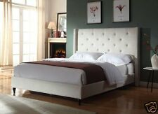 BEIGE Fabric WingBack FULL Size Platform Bed Frame & Slats Modern Home Bedroom