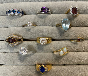 Lot 11 Vintage to New Costume Rings- opal, crystals, CZ, garnet- Sizes 5-9