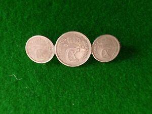 ICELAND KONUNGUR ISLANDS TRIO COINS PIN BAR BROOCH 1940 1942 YEARS